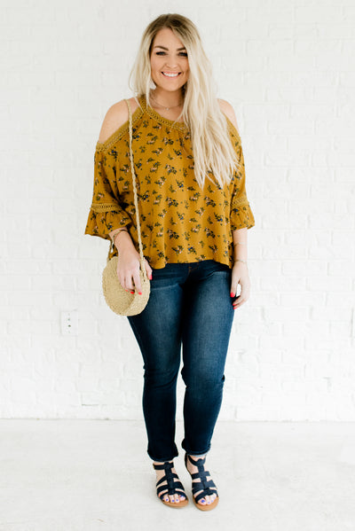 Mustard Yellow Women's High-Low Hem Plus Size Boutique Top