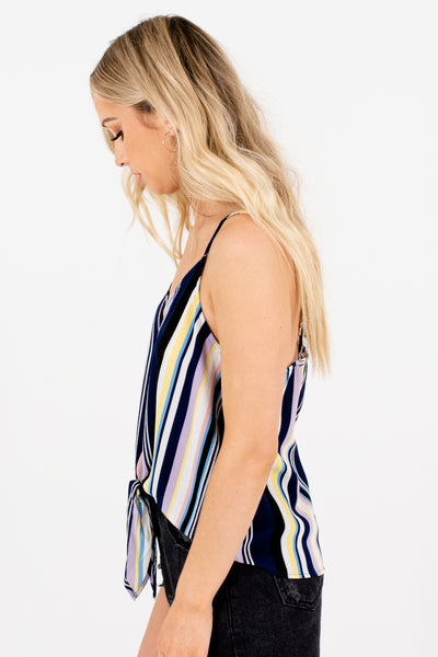 Navy Multicolored Colorful Striped Front Knot Tank Tops for Women