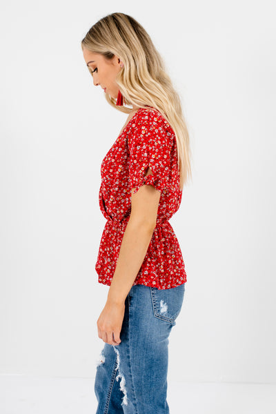 Red Ditsy Floral Print Wrap Style Peplum Tops Affordable Online Boutique