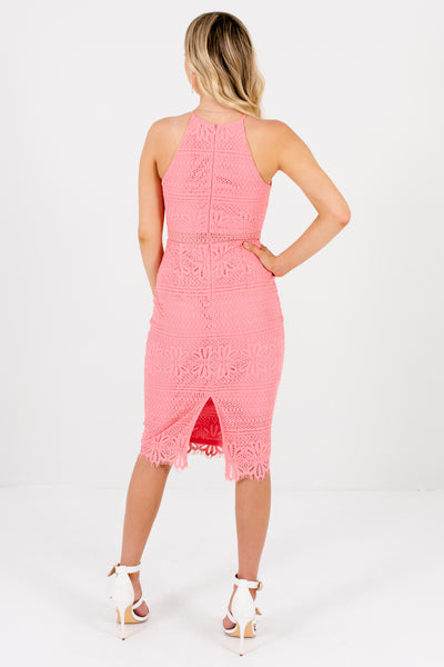 Pink Crochet Lace Overlay Split Back Knee-Length Dresses