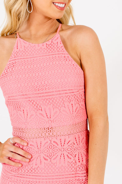 Pink Crochet Lace Overlay Boutique Knee-Length Dresses