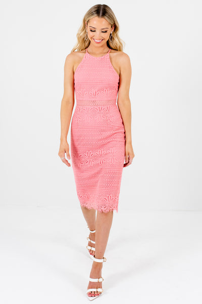 Pink Knee Length Womens Crochet Lace Overlay Dresses