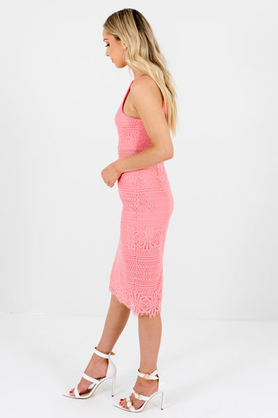 Pink Crochet Lace Back Slit Knee-Length Party Dresses for Women