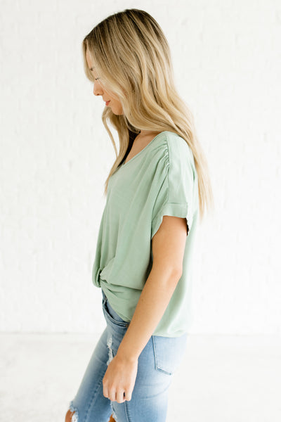 Seafoam Blue Infinity Knot Business Casual Boutique Tops for Women