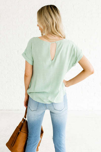 Blue Green Infinity Knot High Low Cuffed Sleeve Keyhole Back Girl Boss Tops