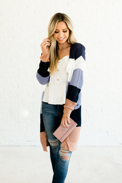 Navy Periwinkle Blue White Pink Color Block Knit Lightweight Cardigan Boutique