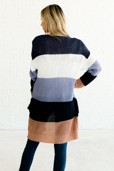Blue White Pink Color Block Multi Striped Lightweight Knit Cardigans with Pockets