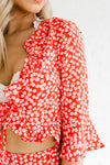 Red Cherry Blossom Print Cute Two Piece Matching Set Wrap Top and Shorts