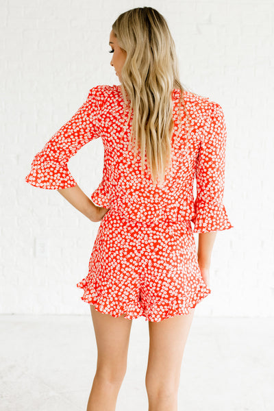 Red Cherry Blossom Floral Print Wrap Top and High Waisted Shorts Ruffle Two Piece Set