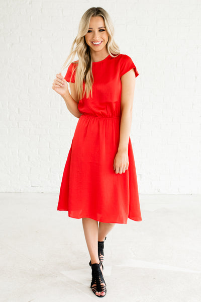 Red Bold Cute Knee Length Short Sleeve Boutique Satin Dresses for Women
