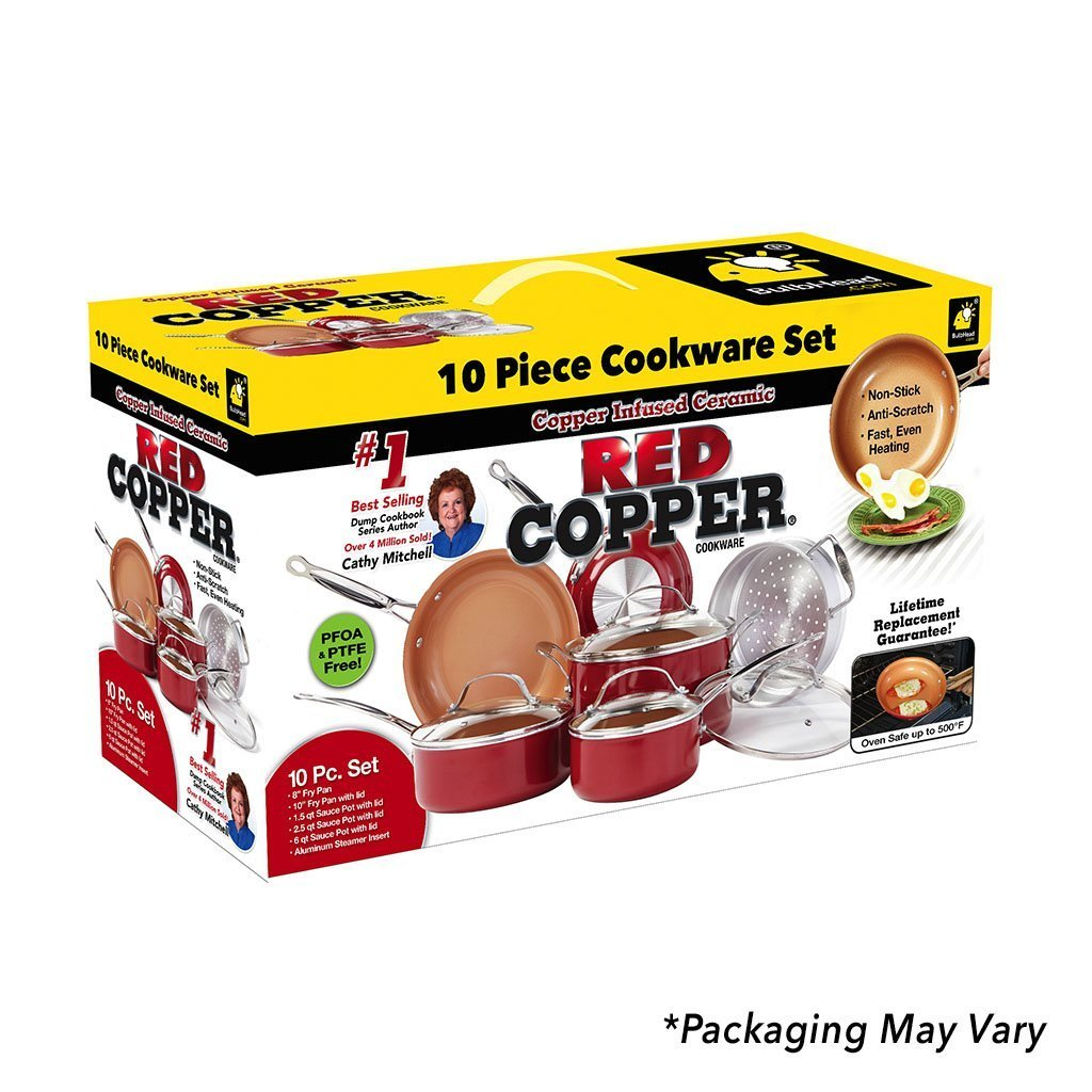 Red Copper 10 Piece Cookware Set packaging silo image from BulbHead