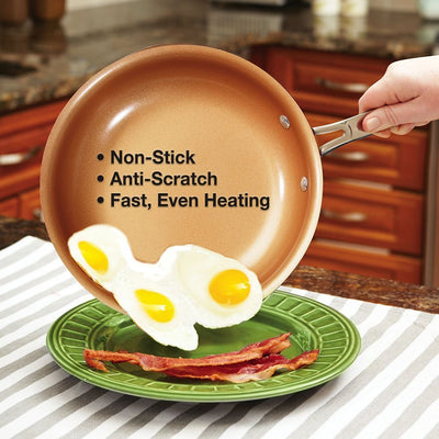 Red Copper 10 Piece Cookware Set eggs and bacon cooked on the fry pan