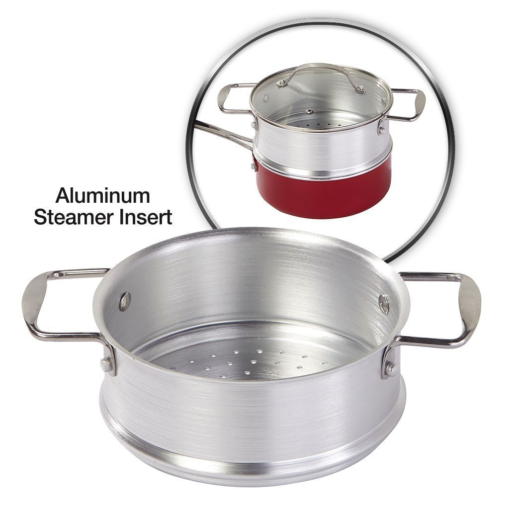 Red Copper 10 Piece Cookware Set steamer insert silo image from BulbHead