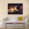 Abstract scientific glowing planet Earth in space, solar eclipse, nebula and stars Multi Panel Canvas Wall Art