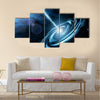 Blue galaxy with star dust Multi Panel Canvas Wall Art
