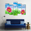 Fully Blossomed Spring flowers Under The Blue Sky, Multi Panel Canvas Wall Art