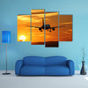 Landing At The Airport During Sunset Multi Panel Canvas Wall Art Set