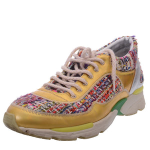 Multicolor Tweed Leather Trainer Lace Tennis Sneakers