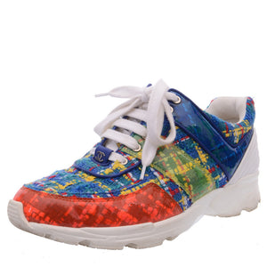 Multicolored Tweed PVC Trainers