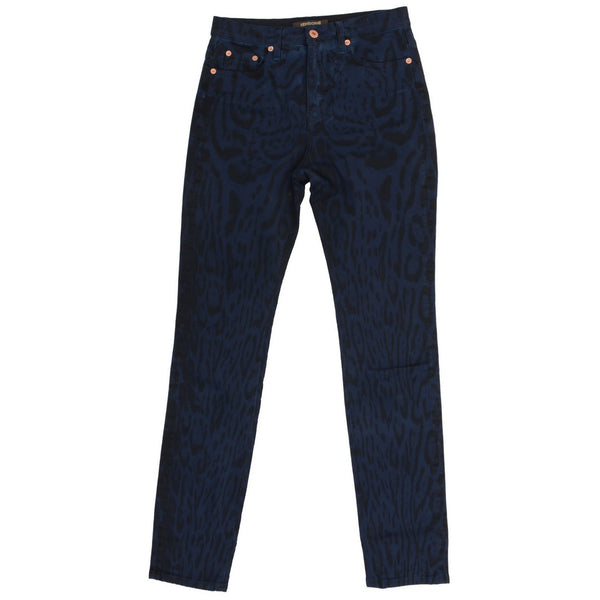 Blue Black Tiger Print Denim