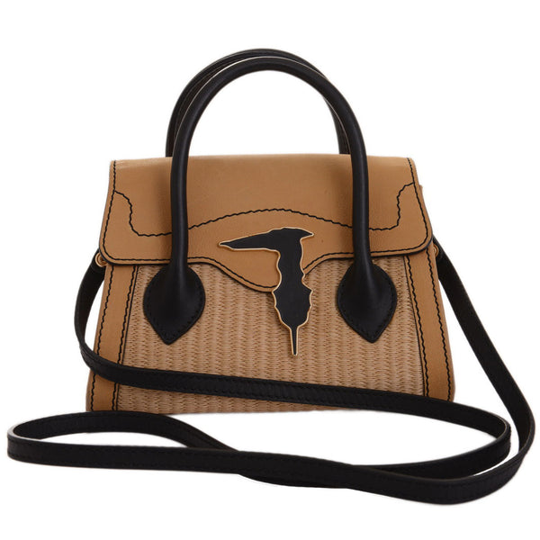 Leather And Raffia Daylight Bag