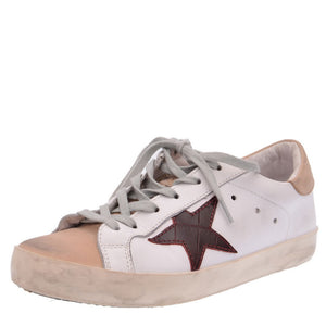White Leather Beige Suede Trainers