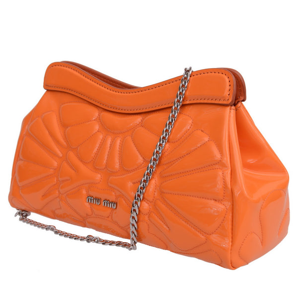 Orange Patent Leather Clutch