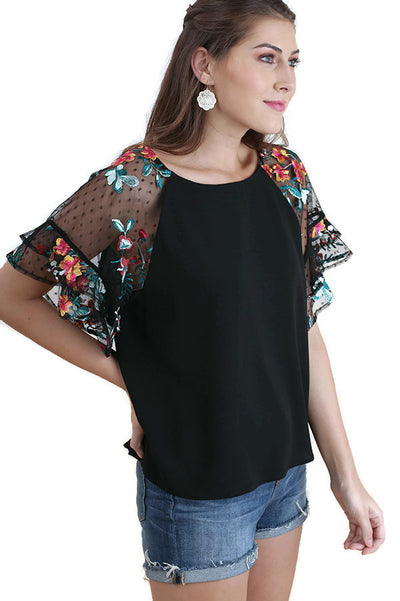 Floral Embroidered Layered & Ruffled Sleeve Top, Black