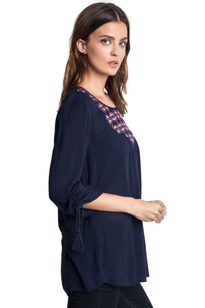 Embroidered Baby Doll Top, Navy
