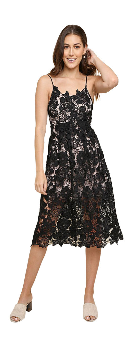 Floral Lace Applique Midi Dress, Black