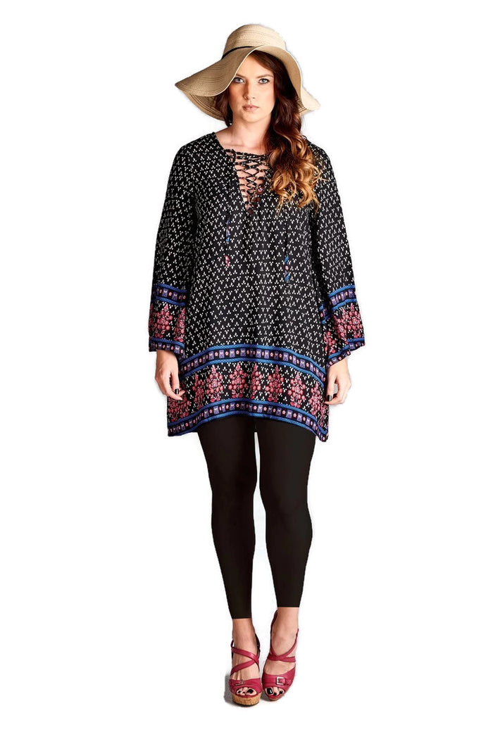 Border Print Floral Bohemian Dress, Black