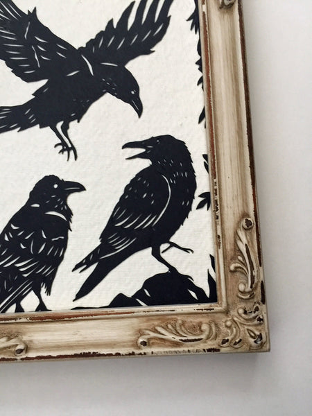 A CONSPIRACY of RAVENS Papercut - Hand-Cut Silhouette, Framed