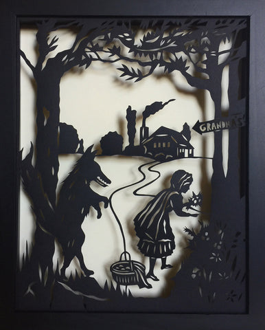 Little RED RIDING HOOD Papercut in Shadow Box - Hand-Cut Silhouette, Framed