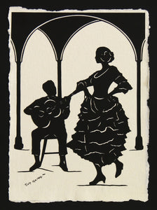 A NIGHT in SEVILLE - Hand-Cut Papercut Art - Flamenco Dancer Silhouette
