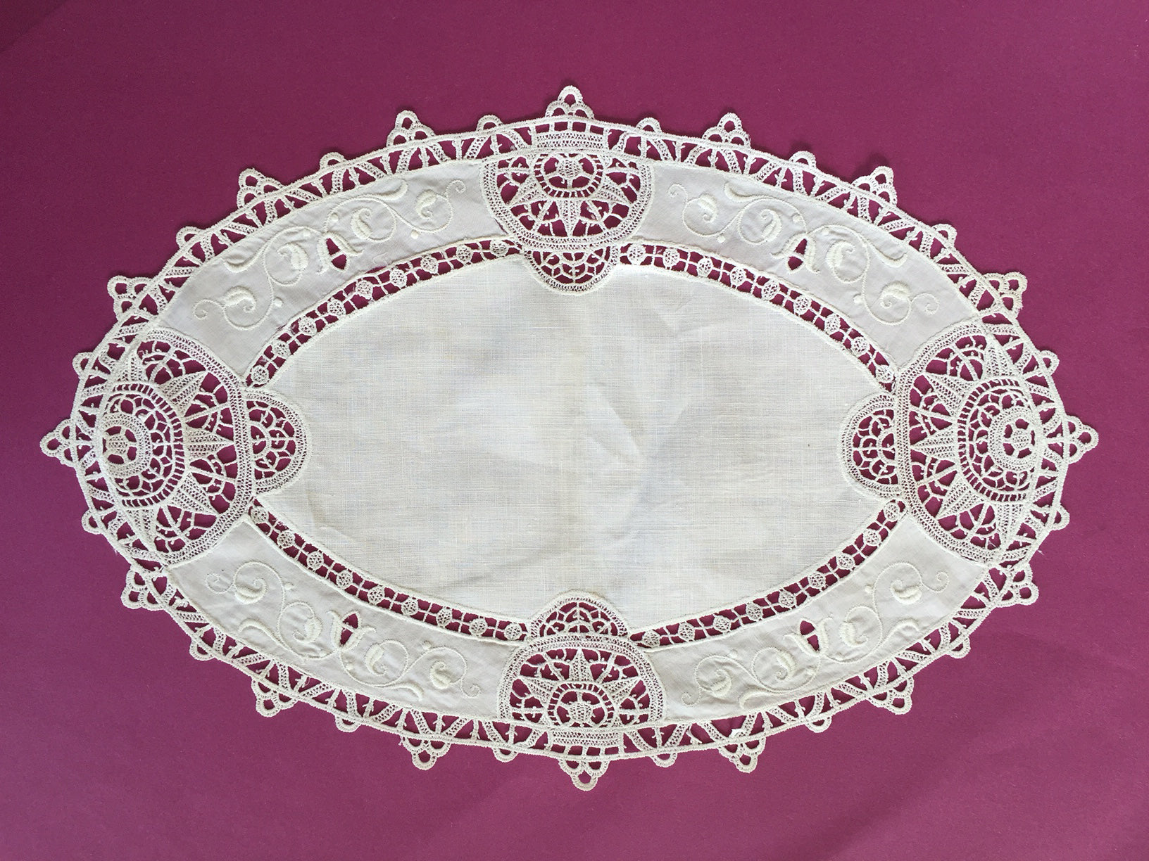 Vintage Crochet Embroidered Lace Table Topper Runner Oval White 1930s
