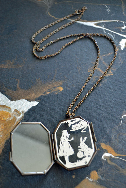ALICE IN WONDERLAND Locket - Hand-Cut Miniature Silhouette Papercut Necklace