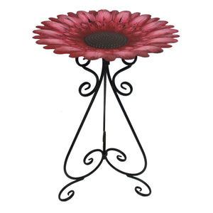 Metal 24 Inch Colorful Red Bird Bath