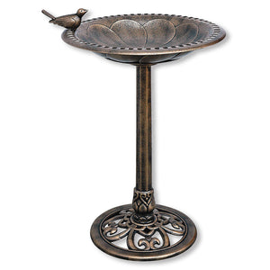 Bronze Plastic Resin Bird Bath with Decorative Base and Bird Ornament
