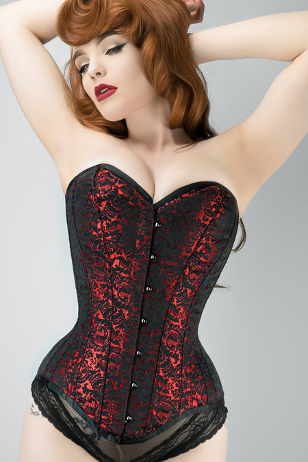 Long Red Brocade Pattern Corset With Hip Gores