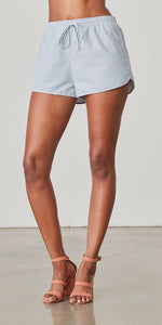 Blue and White Striped Drawstring Shorts