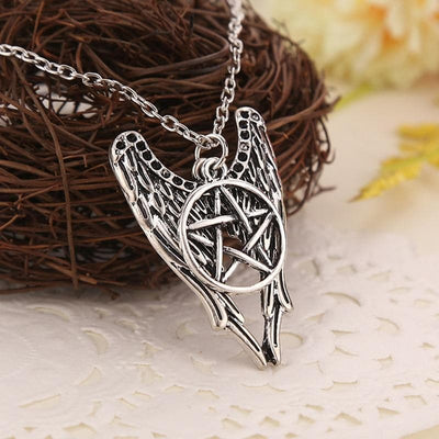 Celtic Antique Winged  Wiccan Pentacle Necklace