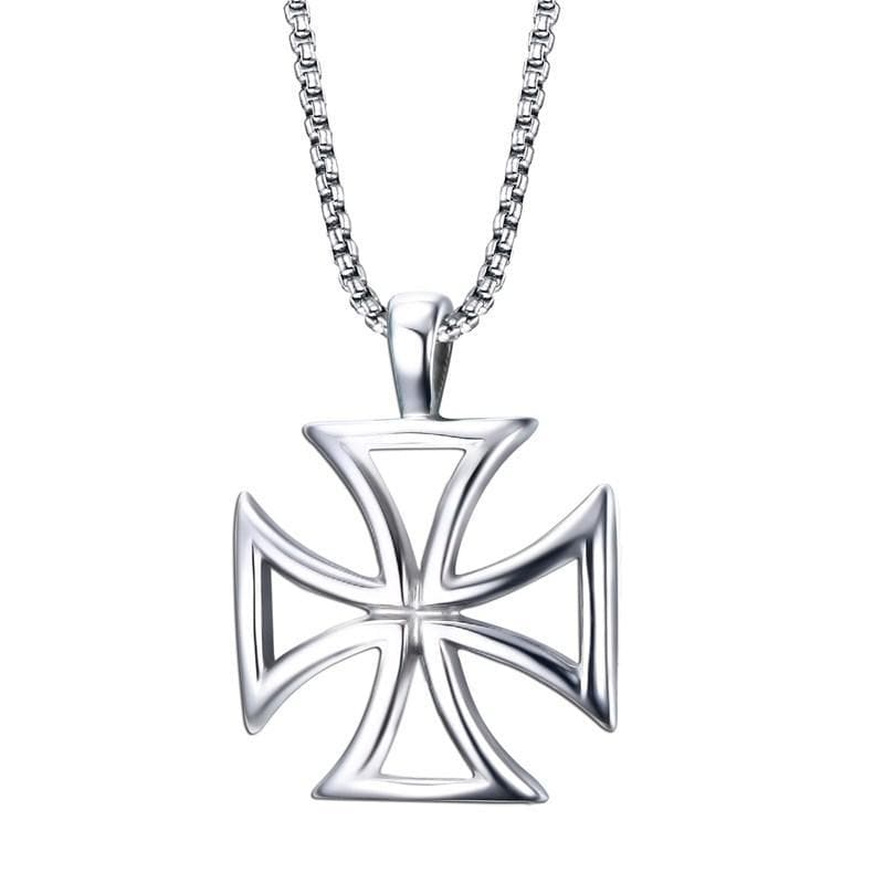 Stainless Steel Knights Templar Red Cross Necklace