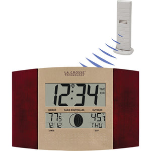 La Crosse Technology Digital Atomic Wall Clock (indoor And Outdoor Temperature; Cherry Wood Finish)