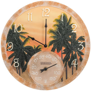 "Springfield 14"" Poly Resin Clock With Thermometer (coconut Bay)"