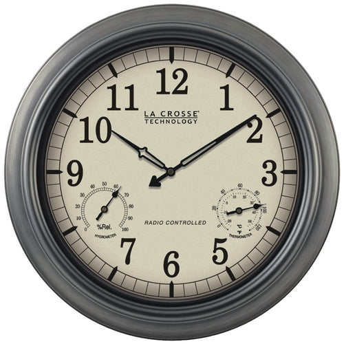 "La Crosse Technology Indoor And Outdoor 18"" Atomic Wall Clock With Thermometer Hygrometer"