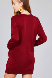 Burgundy French Terry Tunic Dress - Melissa Jean Boutique