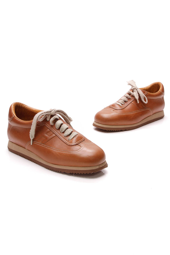 Hermes Quick Sneakers Gold Size 38.5 Brown