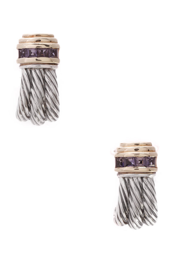 David Yurman Iolite Cable Earrings Silver Gold