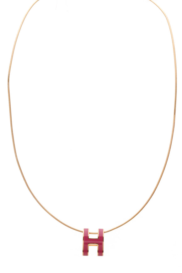 Hermes Pop H Pendant Necklace Pink Gold