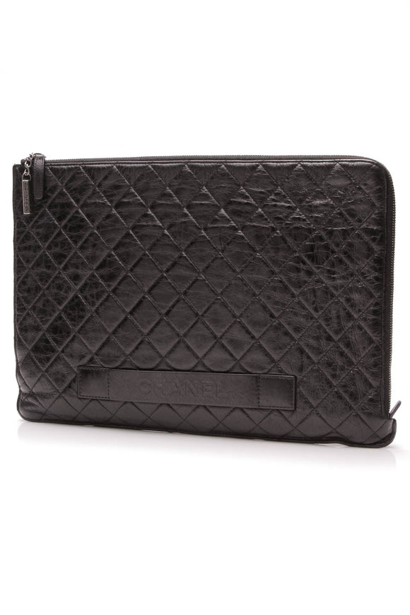 Chanel Metallic Crackled Large Pouch Black Lambskin